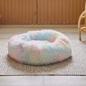 New Rainbow Shaggy Fur Pet Bed